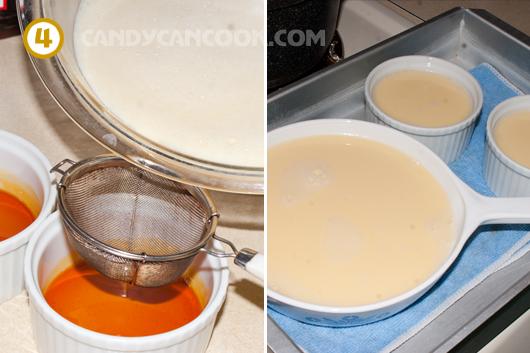 Đổ hỗn hợp trứng sữa vào khuôn rồi xếp vào khay chuẩn bị cho vào lò nướng hấp