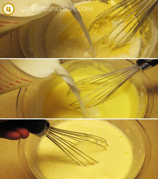 Đổ sữa nóng từ từ vào hỗn hợp kem