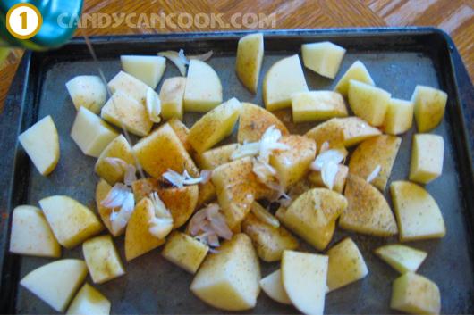Chuẩn bị khoai tây để cho vào lò nướng