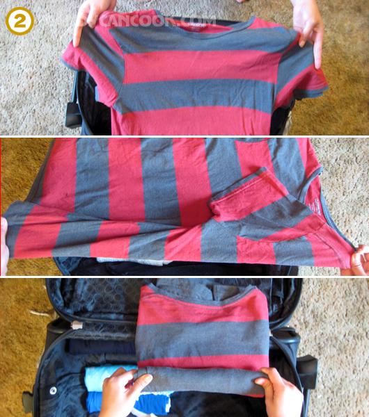 Cách gập một cái áo cỡ lớn rồi cuộn vào và để vào vali