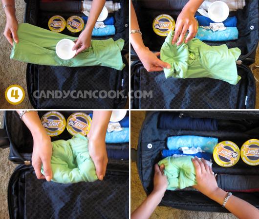Cách gói một cái bát bằng áo phông khi xếp vào vali