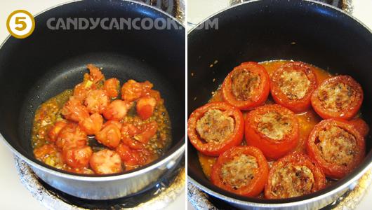 Làm nước sốt từ ruột cà chua và sốt phần cà chua nhồi thịt