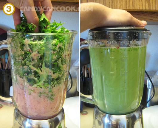 Tiếp đến cho rau vào xay cùng - Nhìn màu nước sinh tố ngon không cả nhà ơi ^^