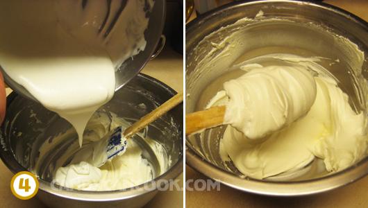 Trộn kem tươi đã đánh và cream cheese