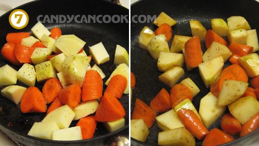 Xào khoai tây, cà rốt cho thấm gia vị