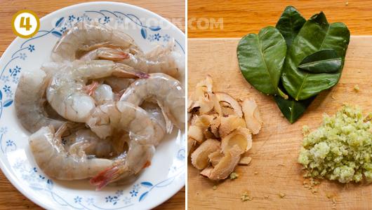 Chuẩn bị nguyên liệu nấu canh tôm chua Thái (Tom Yum Goong)