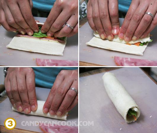 Cuộn chặt bánh mỳ như cuốn kimbab