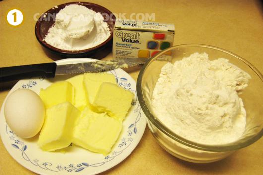 Các nguyên liệu làm bánh quy candy cane