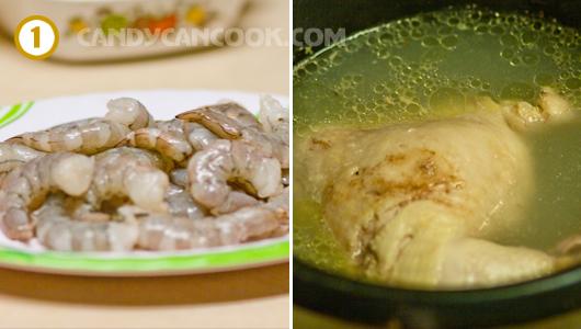 Làm sạch tôm - Luộc gà / thịt nạc vai