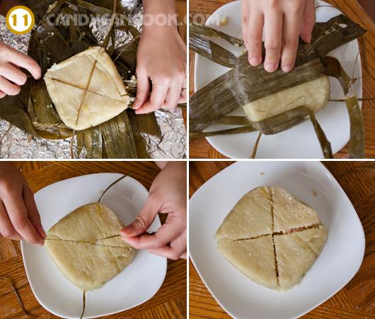 Cách bóc bánh chưng