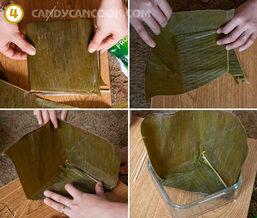 Cách xếp lá để tạo 4 góc cho bánh chưng