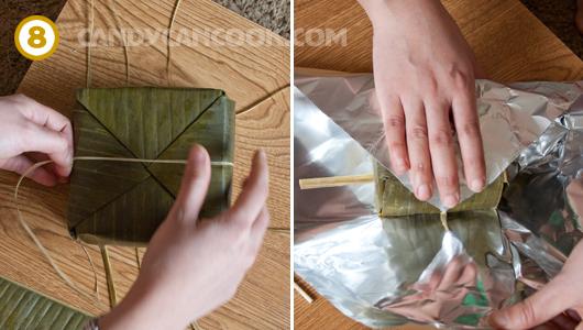 Buộc bánh chặt lại và thêm một lớp giấy bạc nữa cho chắc