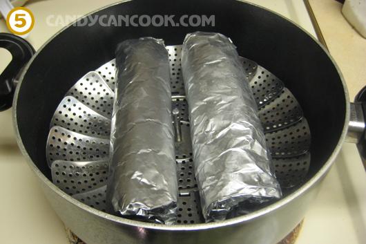 Hấp giò trong nồi đã đun sẵn nước nóng