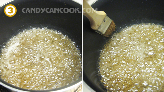 Bước 1: Đun hỗn hợp đường tạo thành caramel