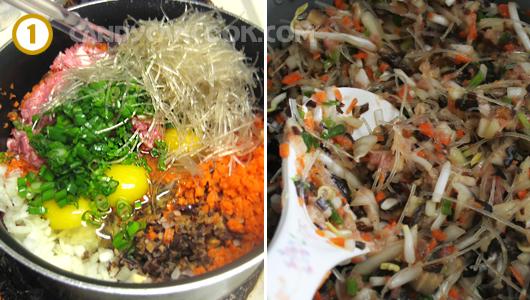 Thái tất cả nguyên liệu rồi trộn đều với trứng và gia vị
