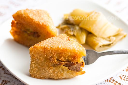 Bánh chưng rán từng miếng