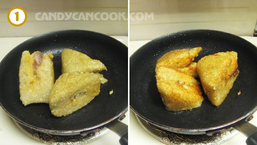 Bánh chưng rán cách 1