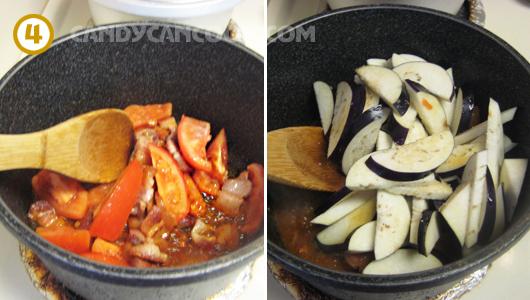Đun cà chua và cà tím cho chín mềm, thấm gia vị