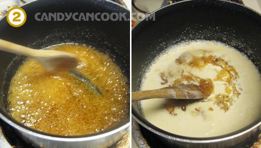 Tiếp tục đun caramel với whipping cream