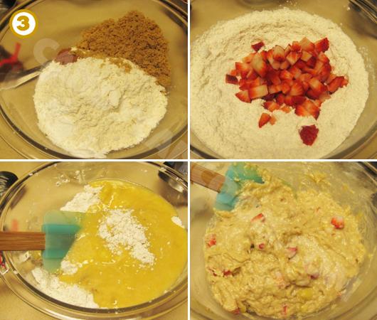 Trộn các nguyên liệu khô rồi trộn cùng hỗn nguyên liệu ướt