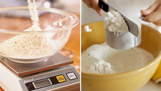 Hai cách đong bột: bằng cân và bằng dụng cụ đo lường (cup)