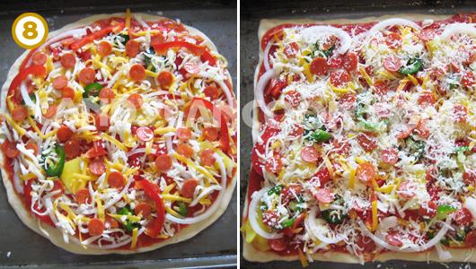 Pizza đã xong, chỉ còn chờ cho vào lò nướng thôi