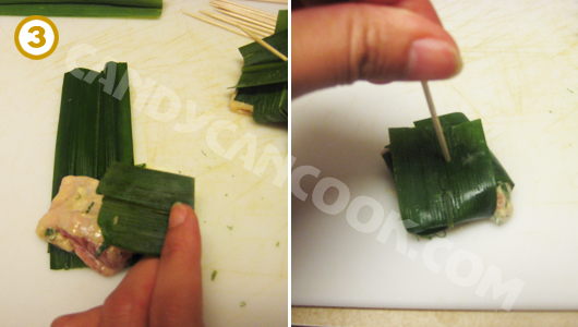 Cách bọc gà bằng lá dứa