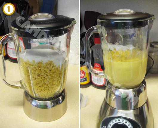 Xay hỗn hợp đậu xanh chín với nước cốt dừa, đường và muối