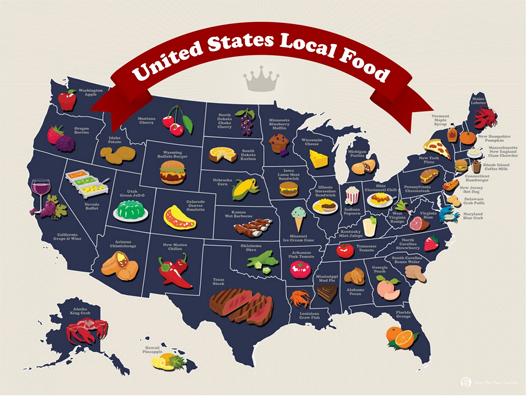 Đặc sản vùng miền của mỗi tiểu bang Mỹ