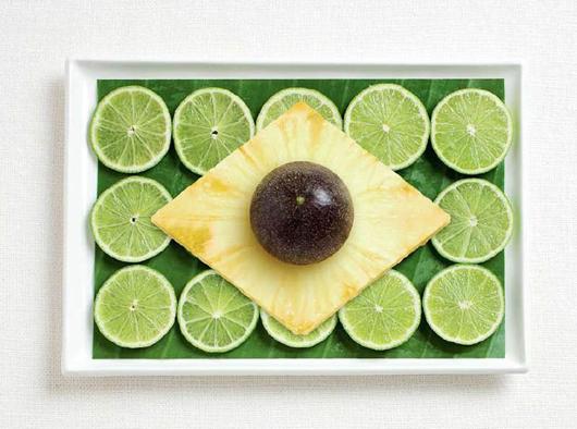 Lá cờ và thực phẩm đặc trưng của Brazil