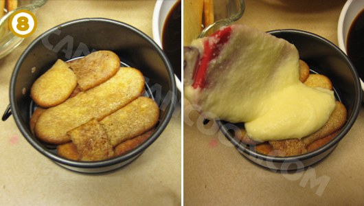 Cách xếp bánh Tiramisu vào khuôn springform