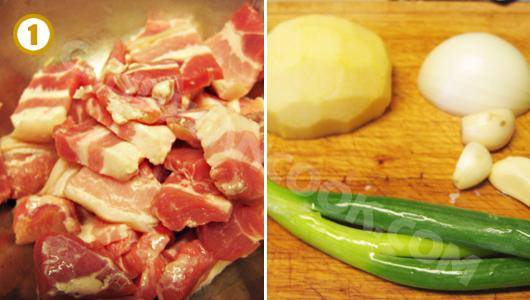 Thái thịt lợn và chuẩn bị các nguyên liệu để ướp thịt