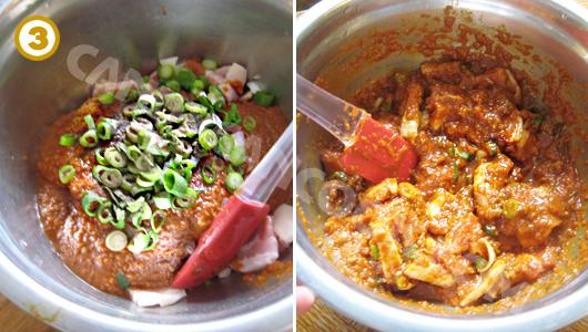 Trộn thịt với sốt ướp vài tiếng trong tủ lạnh