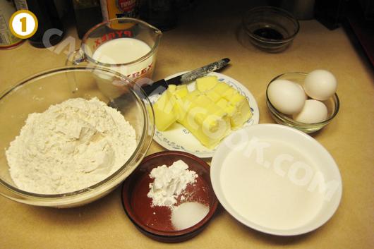 Đong đo các nguyên liệu thật cẩn thận trước khi làm bánh