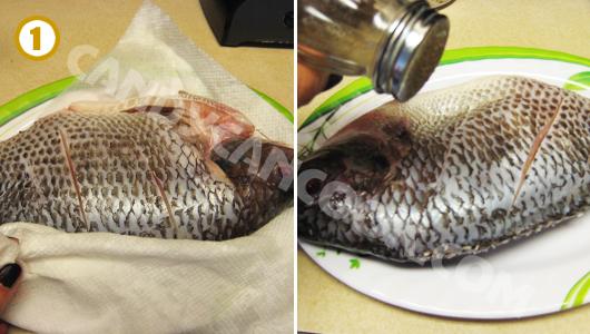Rửa cá sạch, thấm khô rồi ướp với một chút muối tiêu