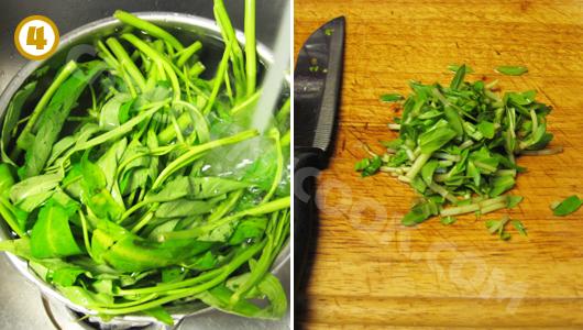 Rửa sạch rồi cắt rau muống, và rau ngổ (ngò ôm)