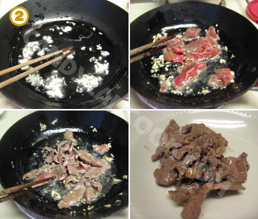 Phi tỏi thơm rồi xào thịt bò tái