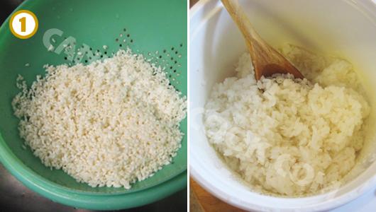 Rửa và ngâm gạo, rồi nấu xôi chín