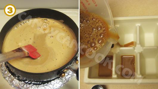 Đun hỗn hợp thạch cafe rồi đổ vào khuôn