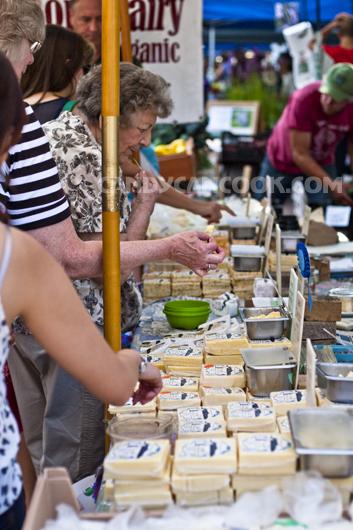Phô mai (cheese) được bày bán và cho mọi người thử thoải mái