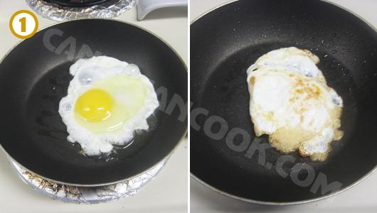 Ốp lếp trứng lòng đào nhưng lật cả hai mặt