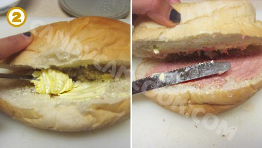Quết bơ và thịt hộp (ba tê) lên hai mặt bánh