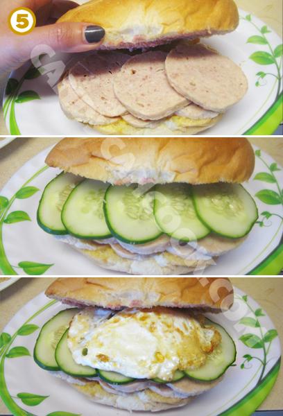 Xếp các nguyên liệu kẹp bánh mỳ
