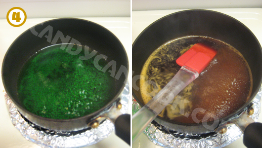 Đun thạch màu xanh lá cây và màu đen (cafe)