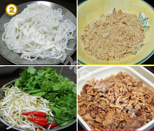 Chuẩn bị sẵn các nguyên liệu cho món Bún bò xào Nam Bộ