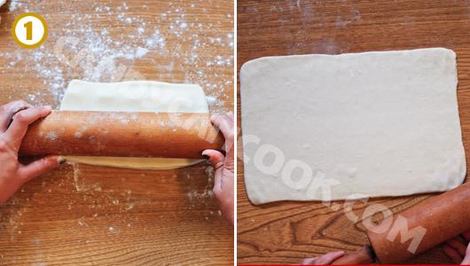 Cán bột ngàn lớp (puff pastry) thành hình chữ nhật mỏng