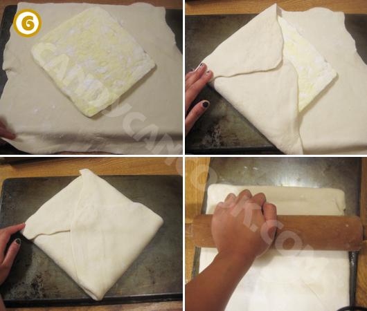 Đặt bơ vào giữa bột, gập lại và cán lớp đầu tiên
