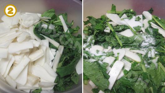 Cắt thái củ cải rồi bóp với muối