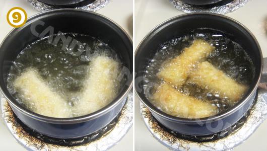 Rán nem hải sản ngập dầu cho tới khi vàng nâu là được