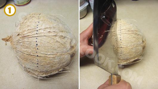 Dùng sống dao đập mạnh xung quanh quả dừa theo đường nét đứt